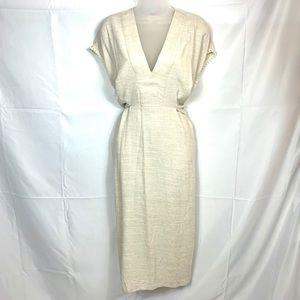 N EW! ZARA Beige v-neck short sleeve dress Small
